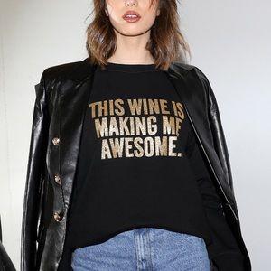 Brunette the Label Wine Gold Glitter Sweater